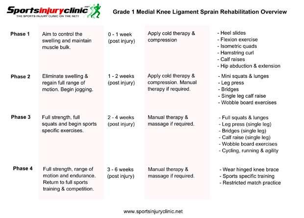 MCL Sprain Rehabilitation Program | Sportsinjuryclinic.net