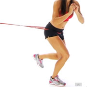 resistance band jump plyometric drill for anterior cruciate ligament