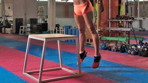 Plyometric box jump exercise