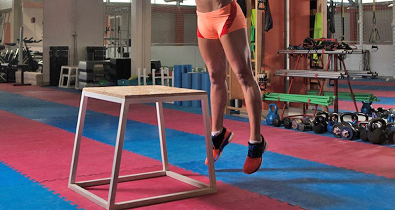 Plyometric box jump exercise