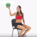 Functional shoulder exercise with medicine ball
