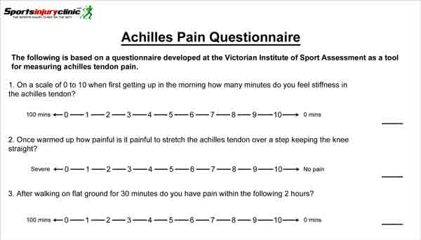 Achilles tendinopathy pain questionnaire download pdf