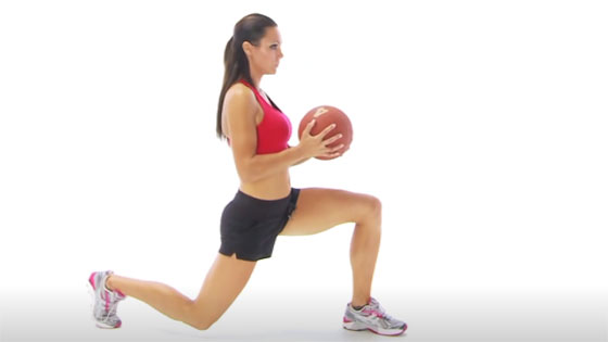 Lunge with ball exercise