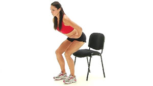 Sit to stand knee exercise