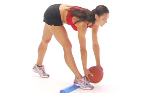 Straight leg ball pickup hamstring exercise