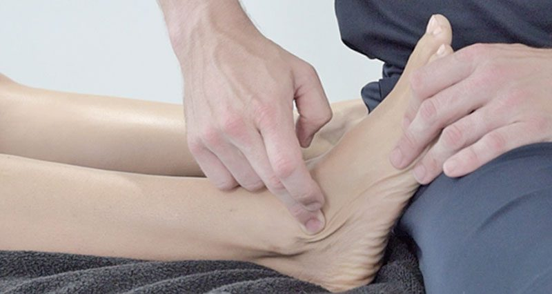 Cross friction ankle massage